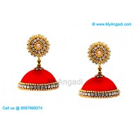 Red Colour Silk Thread Jhumukka Earrings