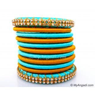Turquoise Colour Silk Thread Bangles