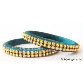 Teal Green Colour Silk Thread Bangles