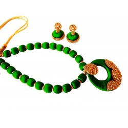 Youth Dark Green Silk Thread Necklace with Grand Pendant and Earrings