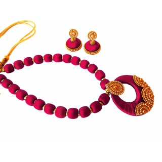 Youth Magenta Silk Thread Necklace with Grand Pendant and Earrings