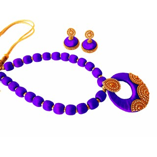 Youth Violet Silk Thread Necklace with Grand Pendant and Earrings