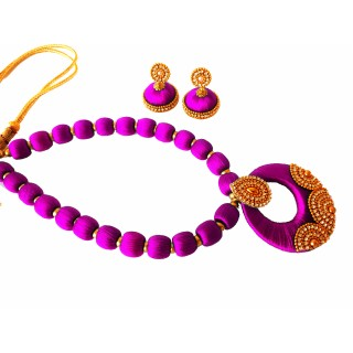 Youth Purple Silk Thread Necklace with Grand Pendant and Earrings