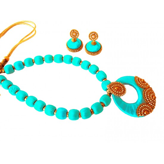 Youth Turquoise Blue Silk Thread Necklace with Grand Pendant and Earrings