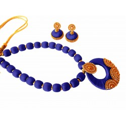 Youth Dark Blue Silk Thread Necklace with Grand Pendant and Earrings