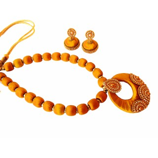 Youth Gold Silk Thread Necklace with Grand Pendant and Earrings
