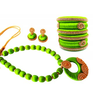 Youth Lime Green Silk Thread Necklace with Grand Pendant, Bangles and Earrings