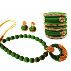 Youth Dark Green Silk Thread Necklace with Grand Pendant, Bangles and Earrings