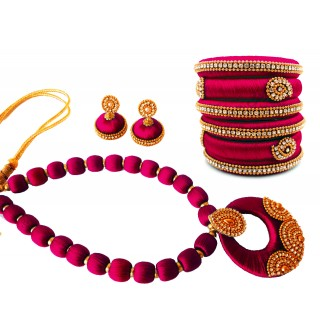 Youth Magenta Silk Thread Necklace with Grand Pendant, Bangles and Earrings