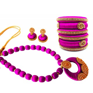Youth Purple Silk Thread Necklace with Grand Pendant, Bangles and Earrings