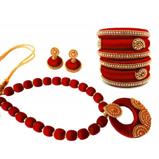 Youth Maroon Silk Thread Necklace with Grand Pendant, Bangles and Earrings