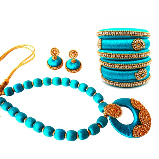 Youth Blue Silk Thread Necklace with Grand Pendant, Bangles and Earrings
