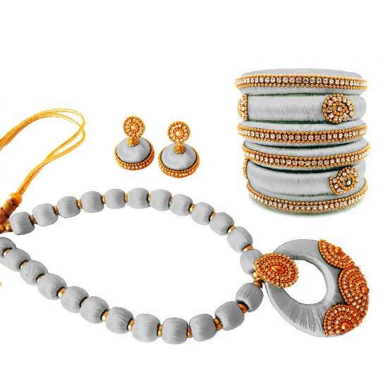 Youth White Silk Thread Necklace with Grand Pendant, Bangles and Earrings