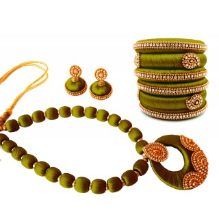 Youth Olive Green Silk Thread Necklace with Grand Pendant, Bangles and Earrings