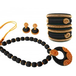 Youth Black Silk Thread Necklace with Grand Pendant, Bangles and Earrings
