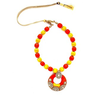 Youth Yellow - Orange Silk Thread Necklace