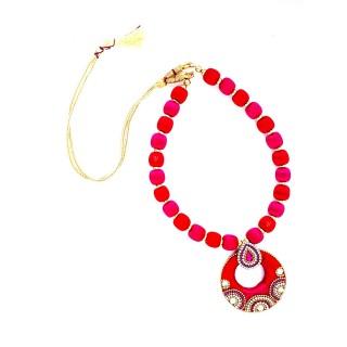 Youth Pink - Orange Silk Thread Necklace