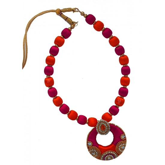 Youth Pink - Red Silk Thread Necklace