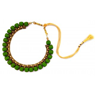 Youth Dark Green Silk Thread Necklace