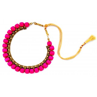 Youth Pink Silk Thread Necklace