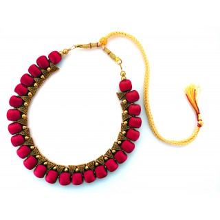 Youth Magenta Silk Thread Necklace