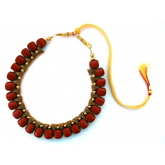 Youth Maroon Silk Thread Necklace