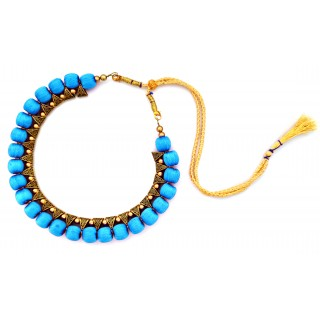 Youth Blue Silk Thread Necklace