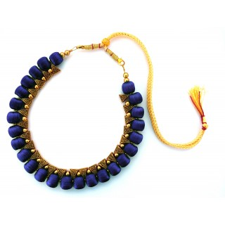 Youth Dark Blue Silk Thread Necklace