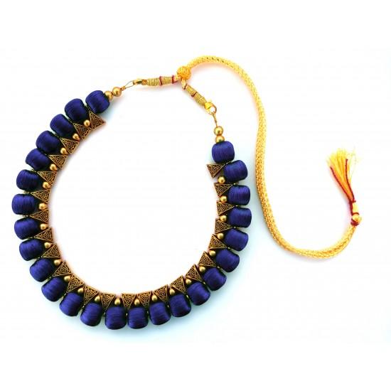 Youth Dark Blue Silk Thread Necklace