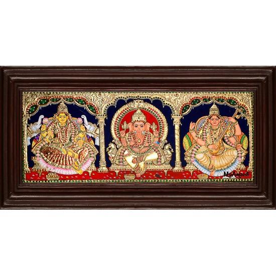 Lakshmi, Ganesha and Saraswathi - 3 Panel Tanjore Painting