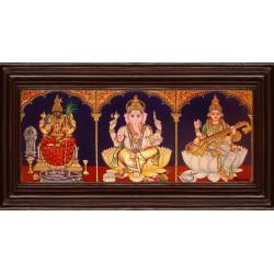 Kamatchi, Saraswathi, Ganesha - 3 Panel Tanjore Painting