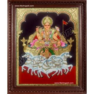 Suryanarayanan - Lord Surya Dev Tanjore Painting