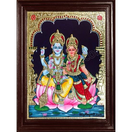 Vishnu and Lakshmi Tanjore Painting