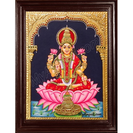 Lakshmi in Lotus Tanjore Painting