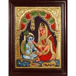 Yasotha Feeding Krishna Tanjore Painting
