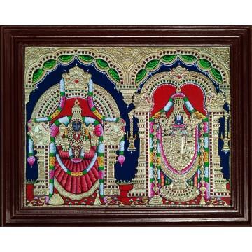 Venkatachalapathi and Alamelu Tanjore Painting