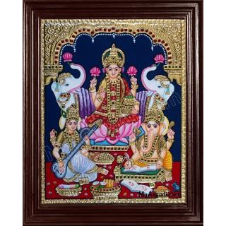 Lakshmi, Ganesha and Saraswathi Tanjore Painting