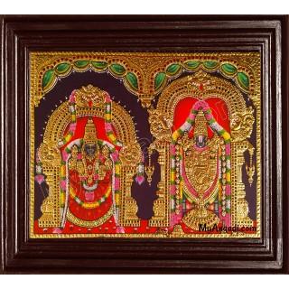 Tirupati Venkatachalapathi and Alamelu Tanjore Painting