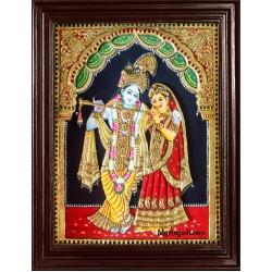 Radha Krishna Embossed Tanjore Painting