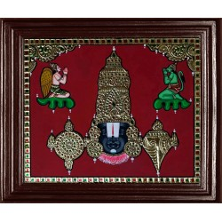 Balaji with Garudan and Hanuman Tanjore Painting