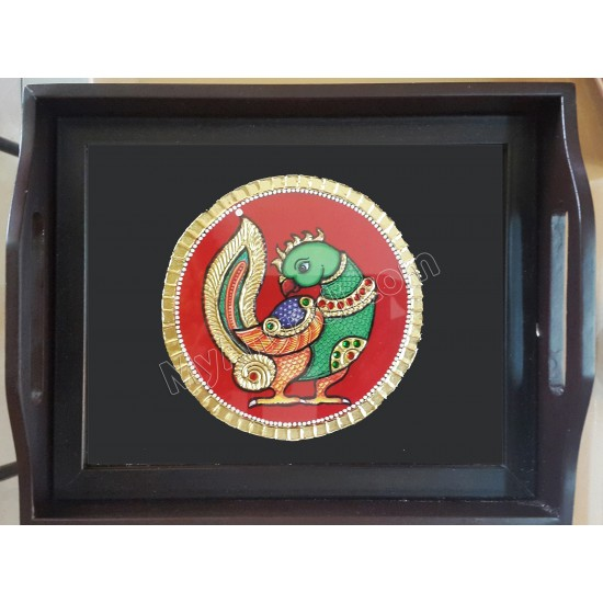 Peacock Tray Tanjore Painting