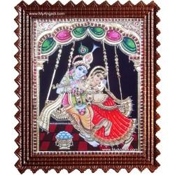 Swinging Radhe Krishna Tanjore Painting
