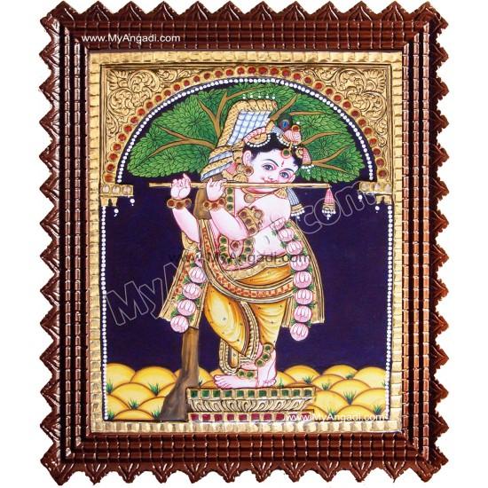 Punnai Mara Krishna Tanjore Painting