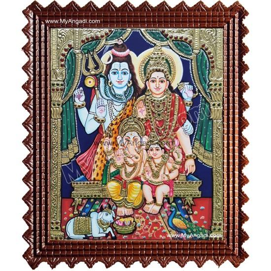 Shiva, Parvathi, Ganesha and Murugan Tanjore Painting
