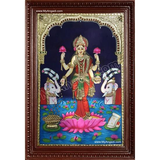 Gaja Lakshmi Tanjore Painting