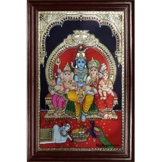 Shiva, Parvathi, Ganesha and Murugan Tanjore Painting