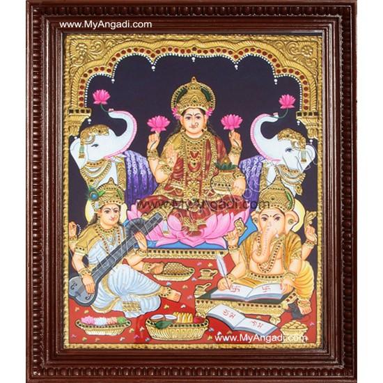 Lakshmi, Saraswathi, Ganesha Tanjore Painting, Lakshmi Tanjore Painting
