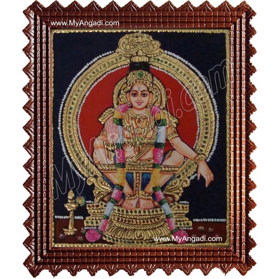 Ayyappan Tanjore Painting, Iyyappan Tanjore Painting