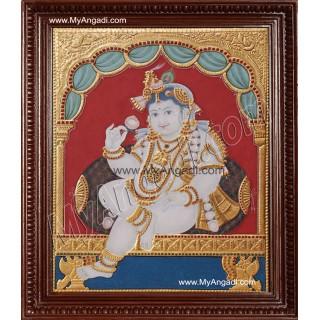 Antique Chair Krishna Tanjore Painting, Krishna Tanjore Painting