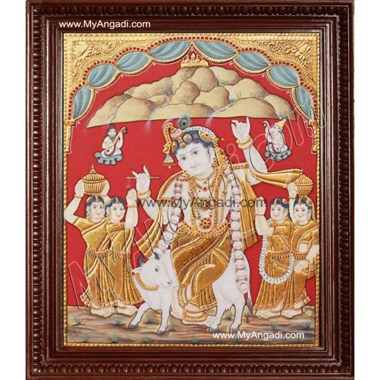 Antique Kovarthana Krishna Tanjore Painting, Krishna Tanjore Painting
